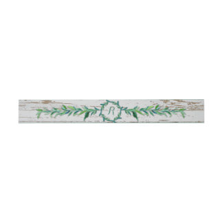 Laurel Wreath Olive Leaf Branch Modern Wood Invitation Belly Band