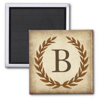 Laurel Wreath on Papyrus Monogram Initial B Square Magnet