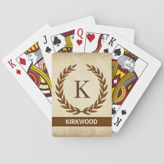 Laurel Wreath on Parchment Monogram Initial K Playing Cards