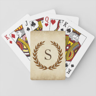 Laurel Wreath on Parchment Monogram Initial S Playing Cards