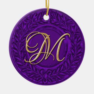 Laurel Wreath with Gold Monogram in Purple Ceramic Ornament