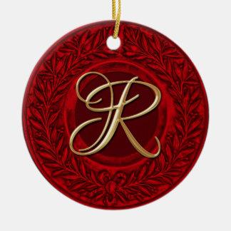 Laurel Wreath with Gold Monogram in Red Ceramic Ornament