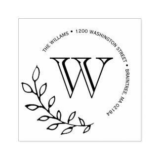 Laurels Leaves Monogram Return Address Rubber Stamp
