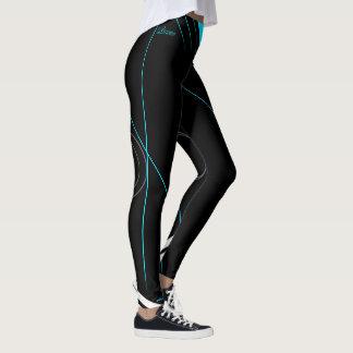 """""""Lauren"""" Black on turquoise strips Leggings"""