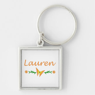 Lauren (Orange Butterfly) Silver-Colored Square Key Ring