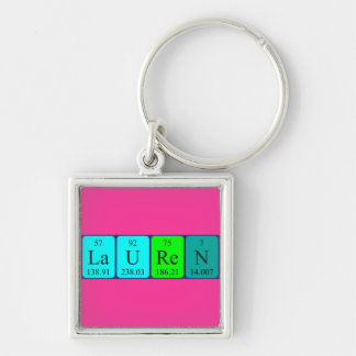 Lauren periodic table name keyring Silver-Colored square key ring