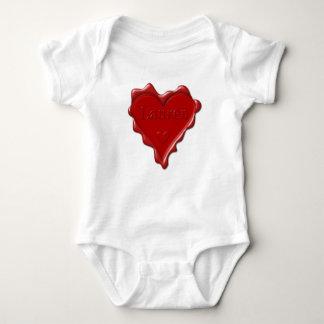 Lauren. Red heart wax seal with name Lauren Baby Bodysuit