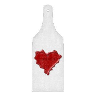 Lauren. Red heart wax seal with name Lauren Cutting Board