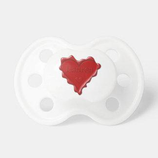 Lauren. Red heart wax seal with name Lauren Dummy