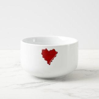 Lauren. Red heart wax seal with name Lauren Soup Mug