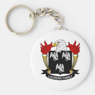 Laurens Family Crest Basic Round Button Key Ring