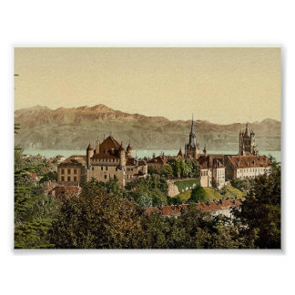 Lausanne, general view, with Savoy Alps, Geneva La Poster