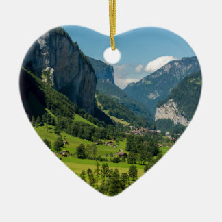 Lauterbrunnen  - Bernese Alps - Switzerland Ceramic Heart Decoration