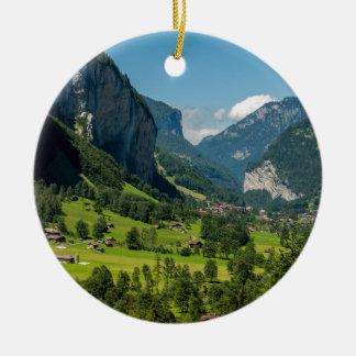 Lauterbrunnen  - Bernese Alps - Switzerland Round Ceramic Decoration