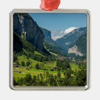 Lauterbrunnen  - Bernese Alps - Switzerland Silver-Colored Square Decoration