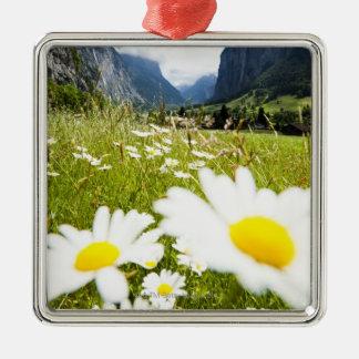 Lauterbrunnen, Switzerland Silver-Colored Square Decoration