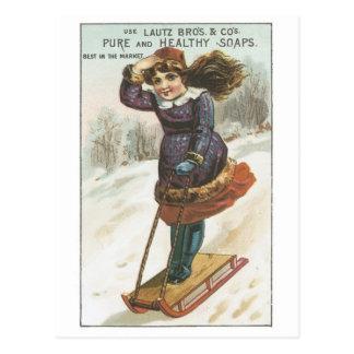 Lautz Bros Sledding Girl Postcard