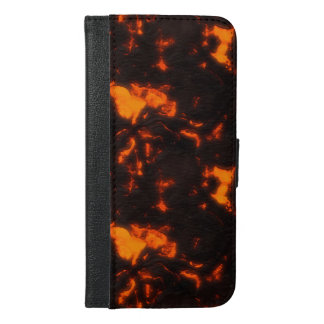 Lava Flow Bright Orange & Black Volcanic iPhone 6/6s Plus Wallet Case