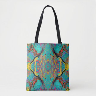LAVA LAMP ABSTRACT KALEIDOSCOPE EMERALD TOTE BAG