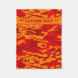 Lava Red Camo w/ Custom Text Fleece Blanket