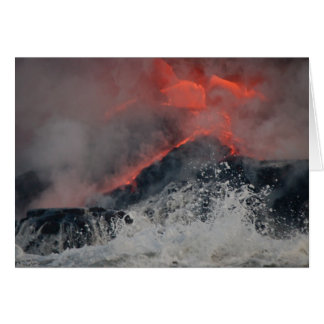 Lava spills into the sea card