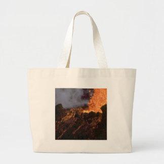 Lava splatter and flow large tote bag