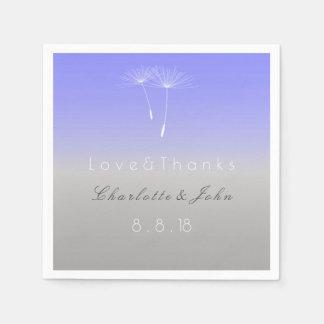 Lavanda Purple Gray Ombre Dandelion Wedding Paper Serviettes