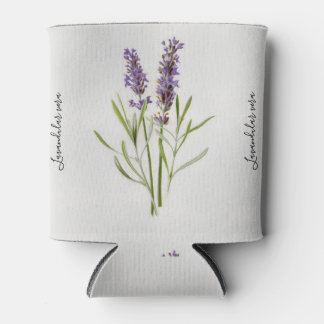 Lavandula Vera Botanical Vintage Painting Can Cooler