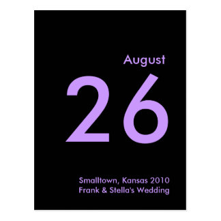 Lavendar and Black Save the Date Postcard