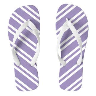 Lavendar and White Stripes Thongs