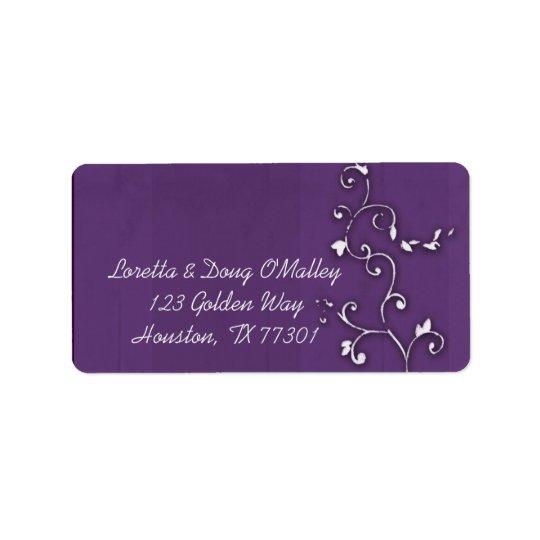 Lavendar background floral designer label