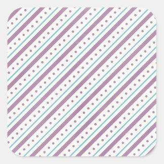 Lavendar Blue Stripes Square Sticker