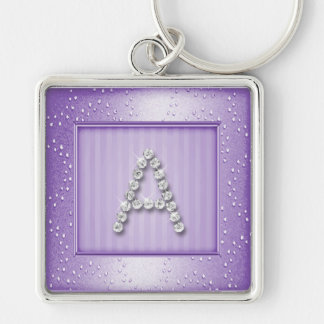 Lavendar Shimmer and Sparkle with Monogram Silver-Colored Square Key Ring