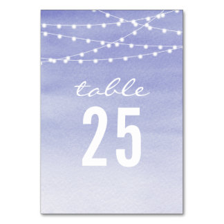 Lavendar Watercolor String Lights Table Card