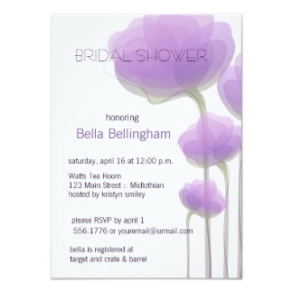 Lavender Abstract Flowers Bridal Shower Invitation