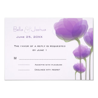Lavender Abstract Flowers RSVP 9 Cm X 13 Cm Invitation Card