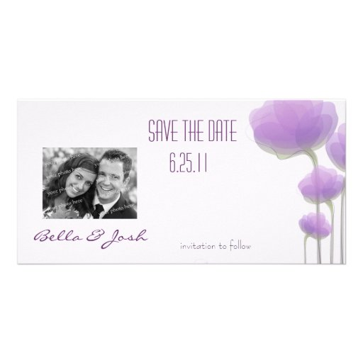 Lavender Abstract Flowers Save the Date Photo Card