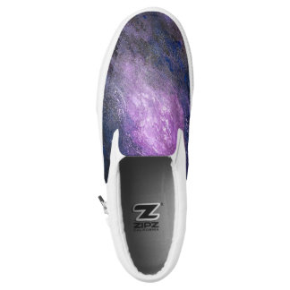 Lavender and Black  Abstract Slip on Sneakers