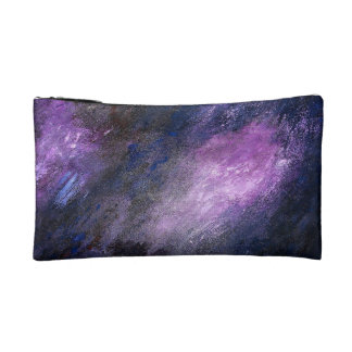 Lavender and Black Abstract Small Cosmetic Bag