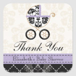 LAVENDER and Black Damask Baby Carriage Thank You