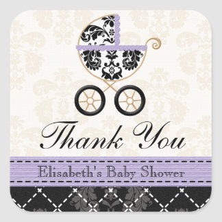 LAVENDER and Black Damask Baby Carriage Thank You Square Sticker
