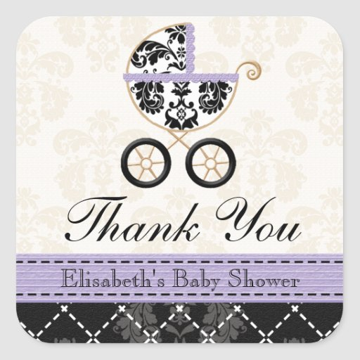 LAVENDER and Black Damask Baby Carriage Thank You Stickers