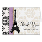 LAVENDER AND BLACK DAMASK EIFFEL TOWER THANK YOU CARD