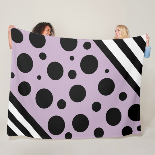 Lavender and Black Polka Dots and Stripes Blanket