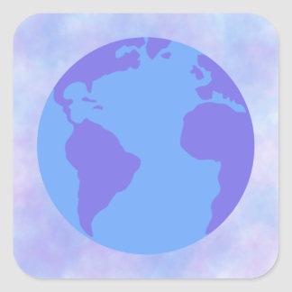 Lavender and blue globe with tie-dye background square sticker