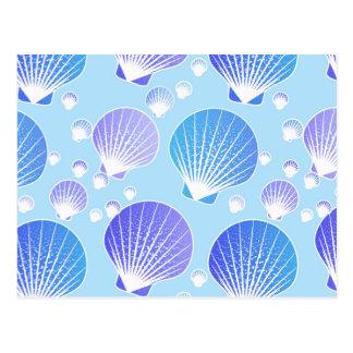 Lavender and blue seashells on pale blue postcards