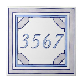 Lavender and Blue Small House Number Small Square Tile