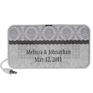 lavender and cream lovely damask wedding keepsake laptop speakers