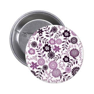 Lavender and dark purple pattern floral 6 cm round badge
