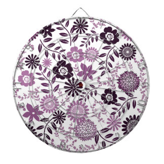 Lavender and dark purple pattern floral dartboard with darts